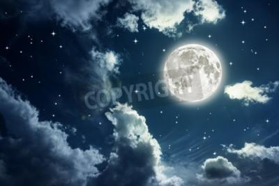 Fototapeta Nocne niebo z gwiazdami i pełne tło księżyca. Elementy tego obrazu zostały dostarczone