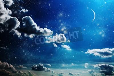 Fototapeta Nocne niebo z gwiazdami i pełni księżyca tle