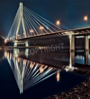 Fototapeta Nocny widok na nowe Świętokrzyski (Syrena) Most na Wiśle w Warszawie.