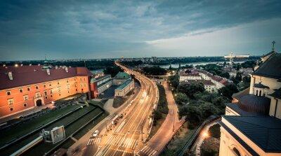 Fototapeta nocny widok na Warszawę z mostu głównego placu