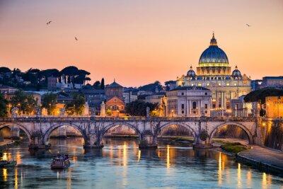 Fototapeta Nocny widok z Bazyliki Świętego Piotra w Rzymie, Włochy