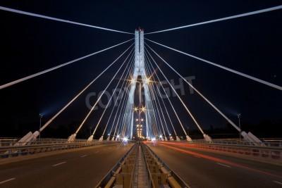 Fototapeta Nocny widok z nowego Świętokrzyski (Syrena) Most w Warszawie.