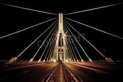 Fototapeta Nocny widok z nowego Świętokrzyski (Syrena) Most w Warszawie. Styl retro.