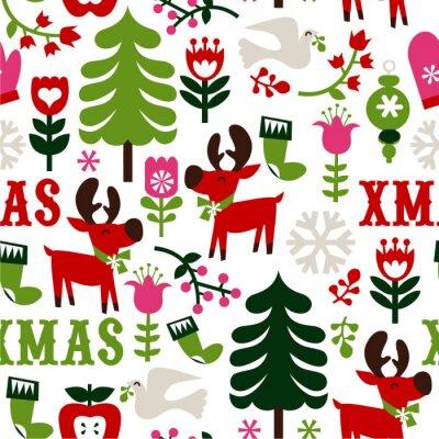 Fototapeta Nordic Boże Narodzenie bezszwowe tło wzór
