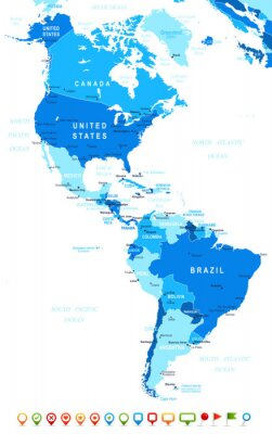 Fototapeta North and South America - map and navigation icons - illustration.