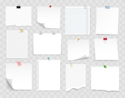 Fototapeta Note paper with pin, binder clip, push pin, adhesive tape and tack. Blank sheet, sticky note, torn piece of paper and notebook page. Templates for a note message. Vector illustration.