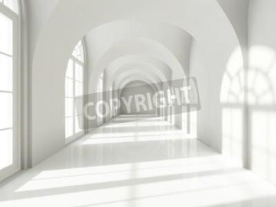 Fototapeta Nowoczesna długi korytarz z dużymi oknami