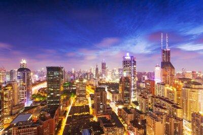 Fototapeta nowoczesna miejska, ruchu i pejzaż w Shangha, Chinach