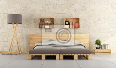 Nowoczesna Sypialnia Z łóżkiem Palet Na Ceglany Mur Fototapety Redro
