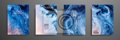 Fototapeta Nowoczesne dzieła sztuki. Malowanie efektem marmuru. Mieszane farby niebieskie, czerwone i białe.