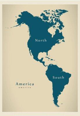 Fototapeta Nowoczesne Mapa - Ameryka Północna i Południowa