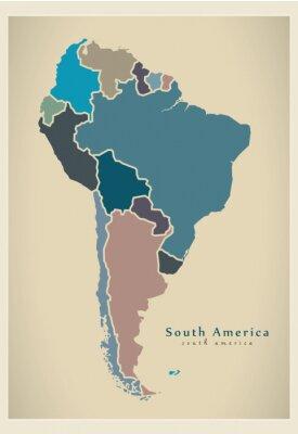 Fototapeta Nowoczesne Mapa - Ameryka Południowa z wszystkich krajów pełnych kolorowych