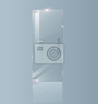 Fototapeta Nowoczesne szklane drzwi. Przejrzyste koncepcje projektów architektonicznych. Ilustracja wektorowa grafika.