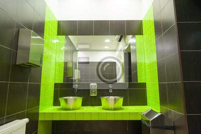 Nowoczesne Umywalki I Toalety Publiczne Lustro Z Zielonych I Fototapety Redro
