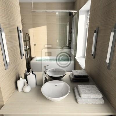 Fototapeta Nowoczesne Wnętrza łazienek 3d Render Na Wymiar