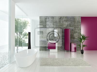 Nowoczesne Wnętrza łazienki Z Betonowej ściany I Różowe Meble Fototapety Redro