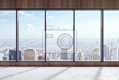 Fototapeta Nowoczesne wnętrze z widokiem na miasto