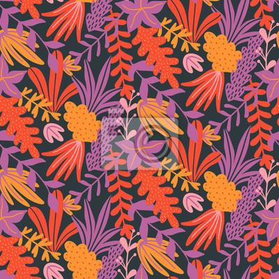 Nowoczesny kwiatowy wzór z ręcznie rysowane dzikich liści i ziół. Szablon projektu jesień. Tapeta wektor. Dobry do druku.