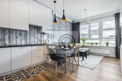 Fototapeta Nowoczesny mały pokój z kuchnią