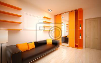Fototapeta Nowoczesny salon jasny pomarańczowy abażur na wymiar • nowoczesny, projekt, styl ...