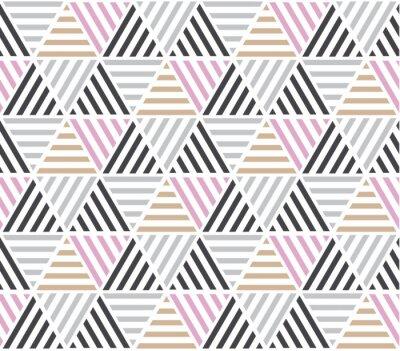 Fototapeta Nowoczesny styl ilustracji wektorowych do projektowania powierzchni. Streszczenie bez szwu deseń z motywem trójkąta w naturalnych beżowym i szarym kolorze.