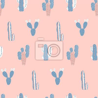 Nowoczesny wzór dziecinna kaktusy. Kaktusowy druk w pastelowych kolorach. Dobre dla tkaniny.