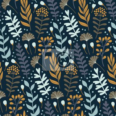 Nowoczesny wzór z dzikich kwiatów elementów. Ręcznie rysowane kwiaty, zioła i liście. Tapeta wektor.