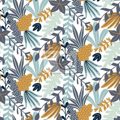 Nowoczesny wzór z liści i kwiatowymi elementami. Jesienny wzór. Dobry do drukowania. Tapeta wektor.