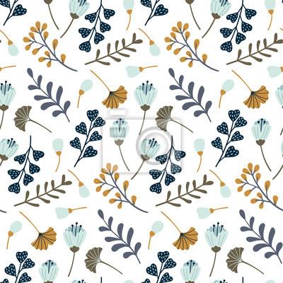 Nowoczesny wzór z liści, kwiatów i elementów kwiatowych. Jesienny wzór. Dobry do drukowania. Tapeta wektor.