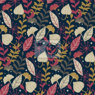 Nowoczesny wzór z ręcznie rysowane dzikich kwiatów elementów. Jesienią tła. Dobry do drukowania. Tapeta wektor.
