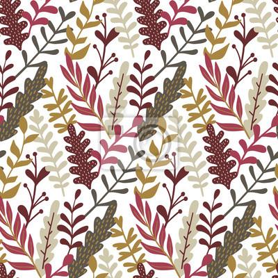 Nowoczesny wzór z ręcznie rysowane liści. Jesienią tła. Dobry do drukowania. Tapeta wektor.