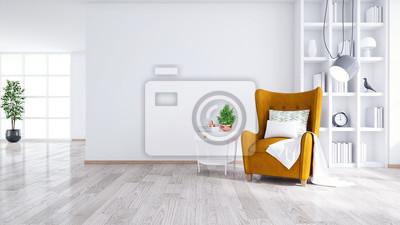 Fototapeta Nowożytny i minimalistyczny wnętrze żywy pokój, Żółty karło z bielu stołem na biel ścianie i drewniana podłoga, 3d odpłaca się