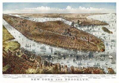 Fototapeta Nowy Jork, stary widok z lotu ptaka. Autor: Parsons & Atwater, publ. Currier & Yves, Nowy Jork, 1875