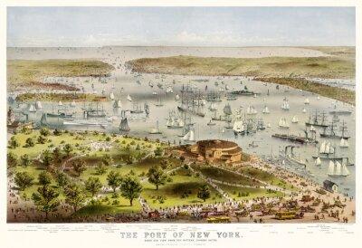 Fototapeta Nowy Jork starych ptaków oko port z baterii. Parsons i Atwater, publ. Currier i Ives, Nowy Jork, 1872