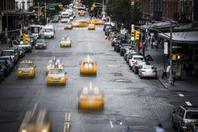 Fototapeta Nowy Jork żółta taksówka, ulica, scena,