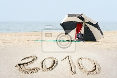 Fototapeta Nowy rok 2010 na plaży