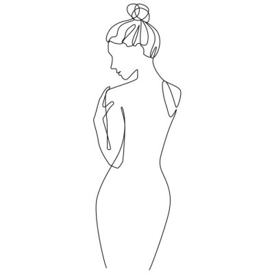Fototapeta Nude woman silhouette one line drawing on white isolated background. Vector illustration