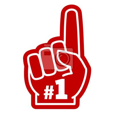 Fototapeta Numer jeden jeden fan sportu pianka dłoni z palcem wskazującym podnoszenia ikonę wektor