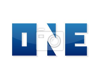 Fototapeta Numer jeden wyraz elementy projektowanie logo szablon. Jedna ikona sylwetka. Wektor jeden logo teamplate.