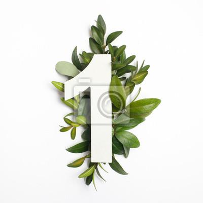 Fototapeta Numer jeden z zielonymi liśćmi. Koncepcja przyrody. Płaskie leżało. Widok z góry