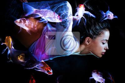 Fototapeta nurkowanie kobieta fantasy z ryb