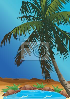 Oaza na pustyni z palmami