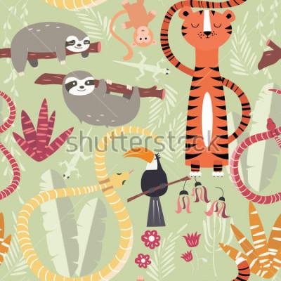 Fototapeta Obejmuje wzór z lasami tropikalnymi związkami, tygrys, wąż, opieszałość, ilustracji wektorowych