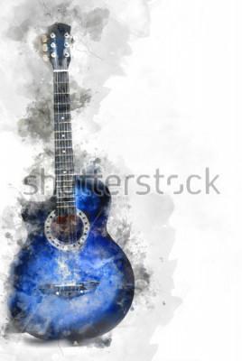 Fototapeta Objęta piękna gitara w przedpolu, akwarela obrazu tła i cyfrowej ilustraci muśnięcie sztuki.