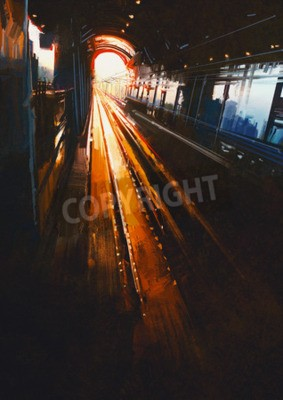 Fototapeta Obraz cyfrowy pokazano dworzec kolejowy z zachodu słońca