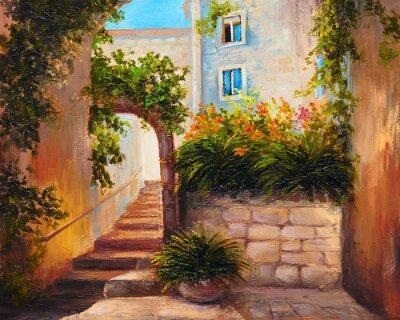 Fototapeta obraz olejny, lato ulica, kwitnące flowers.Colorful abstrakcyjne