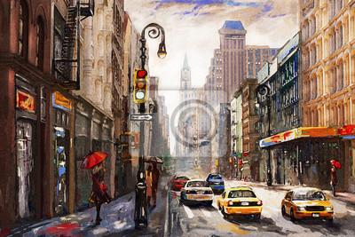 Fototapeta obraz olejny na płótnie, widok ulicy Nowego Jorku, mężczyzna i kobieta, żółte taksówki, nowoczesne grafiki, amerykańskie miasto, ilustracja Nowy Jork