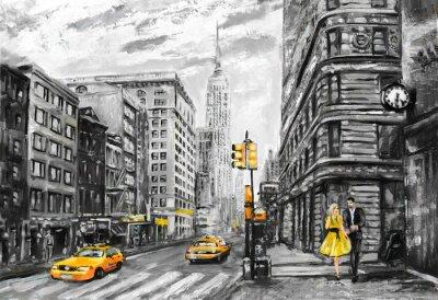 Fototapeta obraz olejny na płótnie, widok ulicy w Nowym Jorku, mężczyzna i kobieta, żółte taksówki, nowoczesna grafika, New York w szarych i żółtych kolorach, amerykańskiego miasta, ilustracji Nowym Jorku
