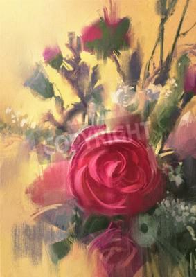 Fototapeta Obraz przedstawiający bukiet pięknych róż róż