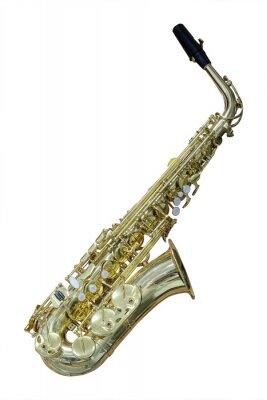 Fototapeta Obraz saksofon samodzielnie w białym tle